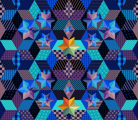 checkered volume: Seamless patchwork pattern with bright stars. Mysterious starry night. Beautiful vector illustration of quilt.