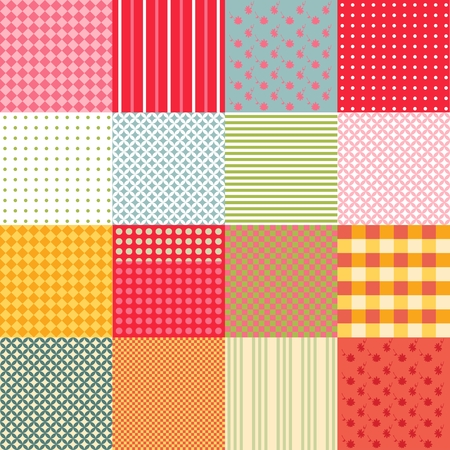 patchwork background: Colorful seamless patchwork background with different patterns. Vector illustration of quilt.