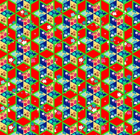 chequered drapery: Seamless bright patchwork pattern with flowers. Floral vector illustration of quilting.