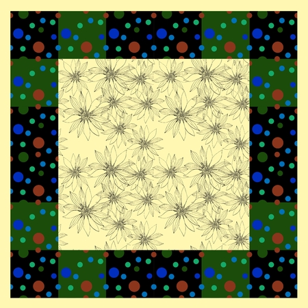 kerchief: Floral card. Bandana print with hand drawn flowers in dot frame. Silk neck scarf or kerchief square pattern design style for print on fabric. Vector illustration