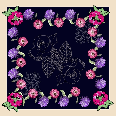 scarves: Beautiful bandana print or silk neck scarf with hand drawn flowers. Floral kerchief square pattern design style for print on fabric. Vector illustration. Illustration