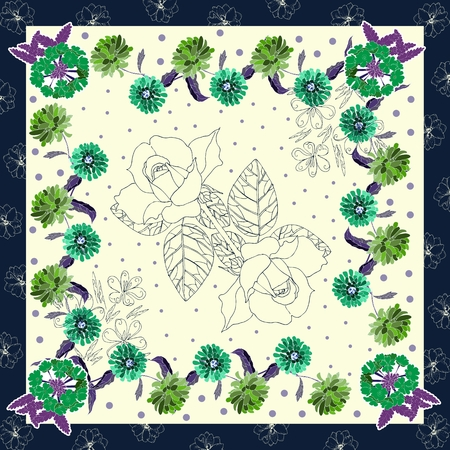 kerchief: Beautiful floral card. Hand drawn flowers. Elegant bandana print or neck scarf. Kerchief square pattern design style for print on fabric. Vector illustration.