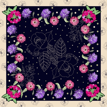 neck scarf: Beautiful card with hand drawn flowers. Bandana print. Silk neck scarf or kerchief square pattern design style for print on fabric. Vector illustration