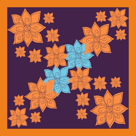 tissue paper art: Floral silk neck scarf or bandana print with bright orange and blue flowers on dark background. Kerchief square pattern design style for print on fabric. Vector illustration.