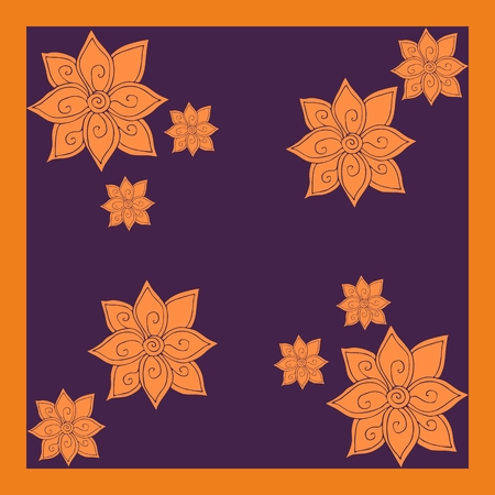 hankie: Bandana print with flowers. Elegant silk neck scarf. Kerchief square pattern design style for print on fabric. Vector illustration.