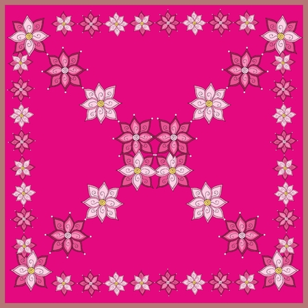 bandana: Ethnic bandana print or neck scarf with flowers. Pink floral card. Kerchief square pattern design style for print on fabric. Vector illustration.