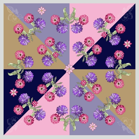 Beautiful bandana print or silk neck scarf with hand drawn flowers. Kerchief square pattern design style for print on fabric. Vector illustration Illustration