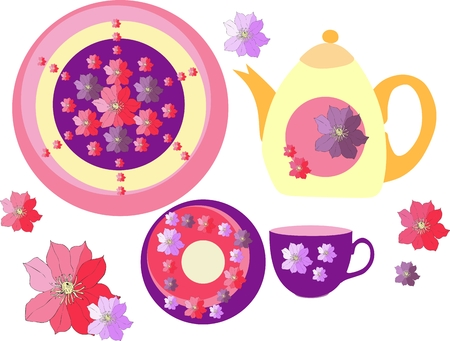 crockery: Beautiful collection of crockery with hand drawn clematis flowers. Two plates, teapot and teacup. Vector illustration.