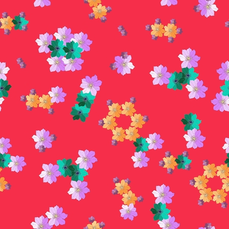 inorganic: Adorable fabric with molecules from hand drawn flowers. Bright seamless pattern. Vector illustration. Illustration