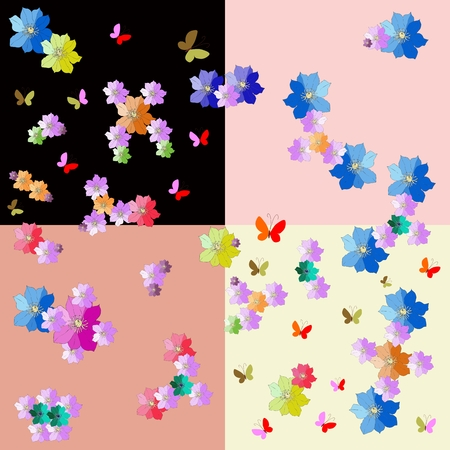 inorganic: Cheerful fabric with molecules from hand drawn flowers on colorful background. Vector illustration. Illustration