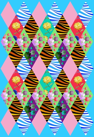 chequered drapery: Beautiful patchwork cover from colorful rhombus patches. Vector illustration of quilt. Illustration