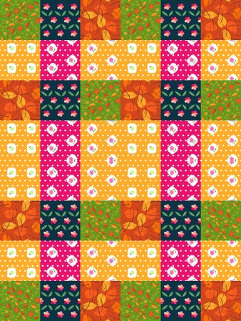 quilting: Seamless patchwork pattern from bright colorful patches with leaves and flowers. Vector illustration. Quilting design background. Illustration