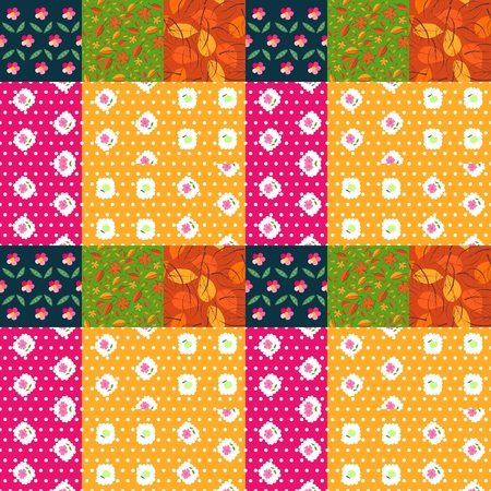 quiting: Bright patchwork pattern from patches with leaves and flowers. Seamless quiting design. Vector illustration.