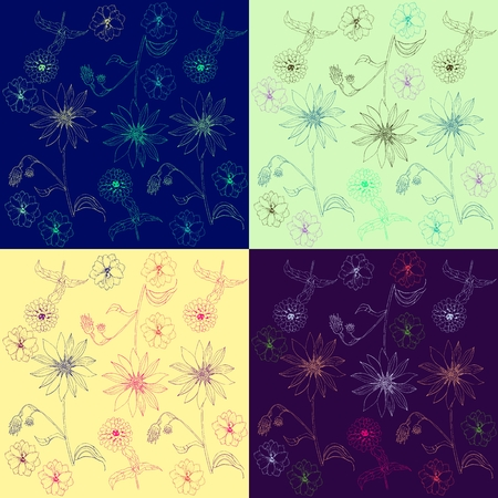 Collection of endless patterns with hand drawn colorful linear flowers. Vector illustration.