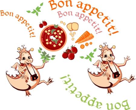 bon: Happy dragons wish bon appetit. Beautiful card with healthy food. Vector illustration.
