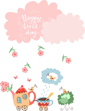 birthday train: Cute greeting Happy birthday card. Teapot with flowers and cup train. Vector illustration.