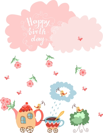 birthday train: Happy birthday greeting card. Teapot with flowers and cup train. Beautiful clouds and rain from flowers and butterflies. Vector illustration.