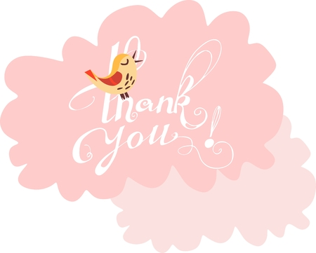 singing bird: Cute card with Thank You hand lettering on pink clouds and singing bird. Vector illustration.