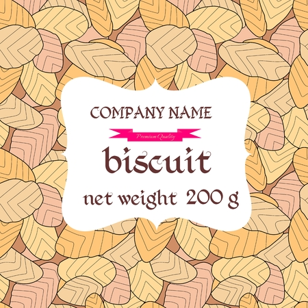 confectionery: Cookies packaging. Biscuit background. Backdrop depicting confectionery. Vector illustration.