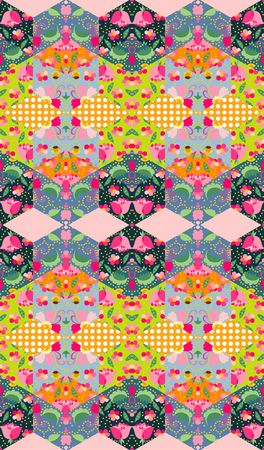 patchwork quilt: Colorful floral patchwork. Seamless quilting design. Vector illustration.