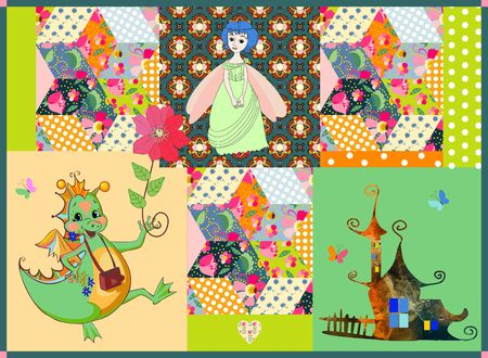 cute house: Childish patchwork pattern with fairy dragon, princess and cute house. Colorful patches with flowers and ornaments. Vector illustration.