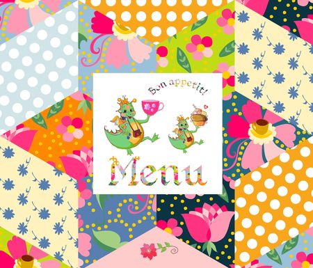 patchwork background: Beautiful menu template with happy dragons on patchwork background. Vector illustration. Illustration