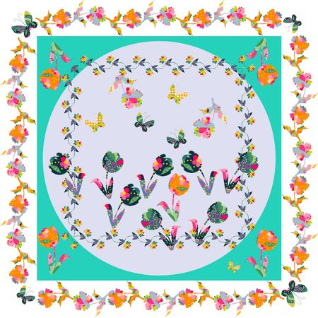 kerchief: Beautiful floral bandanna print. Silk neck scarf with cute ornamental flowers. Kerchief square pattern design style for print on fabric. Vector illustration. Illustration