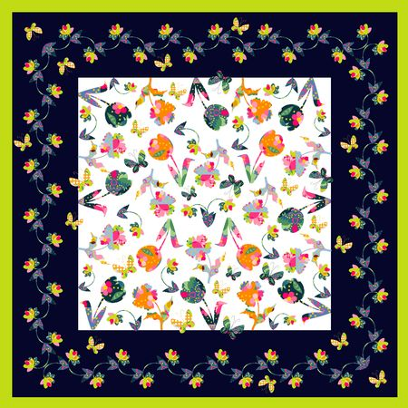 bandana: Bright bandana print with colorful flowers and butterflies. Silk neck scarf. Kerchief square pattern design style for print on fabric. Vector illustration. Illustration