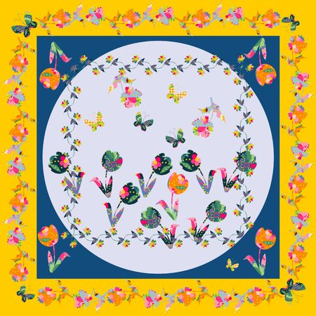 napkins: Decorative motif with flowers for napkins, shawls and handkerchiefs. Bandana print or kerchief square pattern design style for print on fabric. Vector illustration.