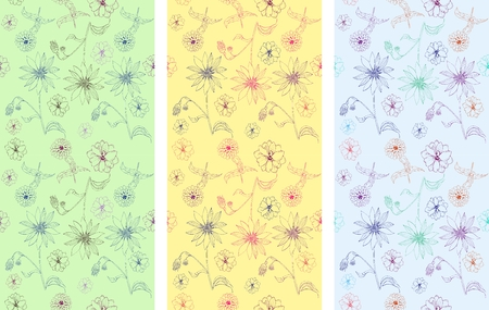 Set of seamless patterns with hand drawn flowers. Vector illustration. May be used for design fabric, wrapping paper, covers, backgrounds. Vector Illustration