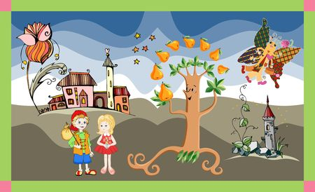 pear tree: Cute card with boy and girl, pear tree, castle, flower and butterfly. Childish vector illustration.