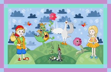 dream land: Childish card with fairyland. Cute vector illustration.