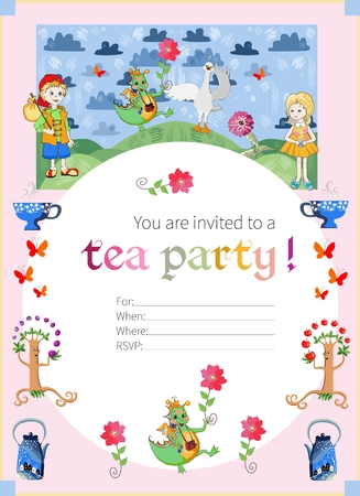 dream land: Tea party invitation for kids. Cute illustration of fairy land. Vector template. Illustration
