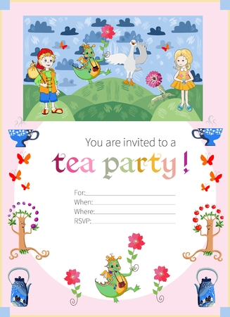 childish: Childish tea party invitation with fairyland. Cute vector template.