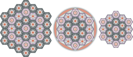 Collection of three patchwork carpets with ornamental hexagonal patches. Vector illustration.