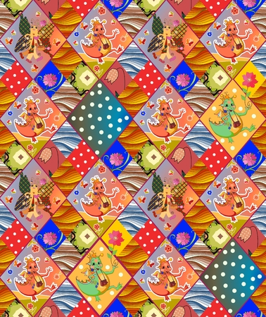 patchwork pattern: Cute childish seamless patchwork pattern. Colorful vector illustration of quilt.