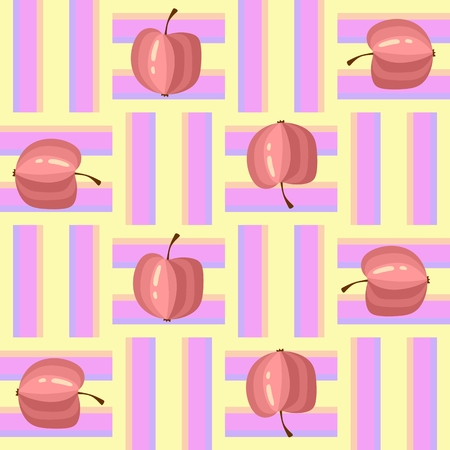 Seamless pattern with colorful apples on weaving background. Vector illustration. Illustration