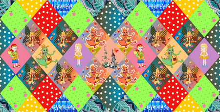 quilting: Childish seamless patchwork pattern. Fairy vector illustration. Quilting design for kids.