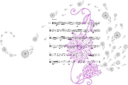 Schöne Karte mit Hand gezeichneten Blumen und Noten. Vektor-Illustration.