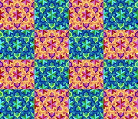 chequered drapery: Seamless colorful patchwork pattern. Vector checkered background Illustration