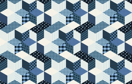 quilting: Winter seamless patchwork pattern with stars from patches. Vector background. Quilting in blue tones.