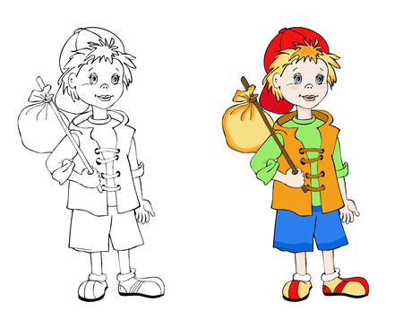 wanderer: Coloring book with little traveller . Cartoon vector illustration for children education.