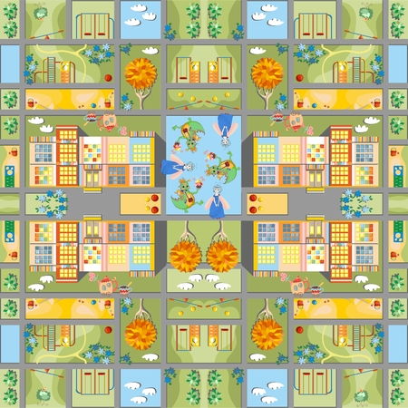 carpeting: Cute cartoon map. Seamless pattern of summer city in fairyland. Childish vector illustration. Can be used for floor carpeting, wallpapers, bed linen fabric. Illustration