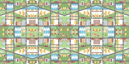 carpeting: Cartoon map. Seamless pattern of summer city. Cute childish vector illustration. Can be used for floor carpeting, wallpapers, bed linen fabric.