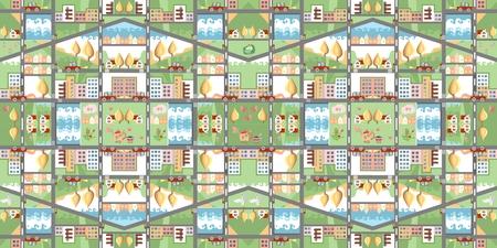 kaart cartoon. Naadloos patroon van de zomer stad. Leuke Kinderachtige Illustratie. Kan gebruikt worden voor vloerbedekking, behang, beddengoed stof. Stock Illustratie