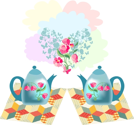 napkins: Beautiful vector illustration of two teapots on patchwork napkins and floral heart.  Romantic card for Valentines day.