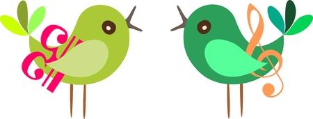 clave de fa: ilustraci�n vectorial de una pareja de aves con clave de sol y clave de fa.