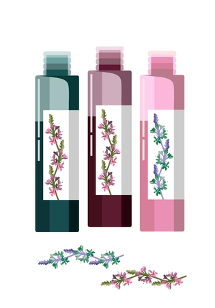 homeopathic: Cosmetic vial, flask, flacon or container for perfume with floral herbs. Vector illustration.