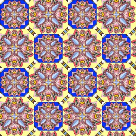 Naadloze vector etnische patroon met geometrische bloemen. Tribal achtergrond kan worden gebruikt voor vloerbedekking, behang, stoffen. Stock Illustratie