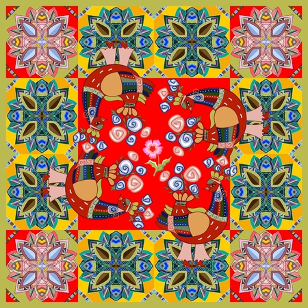 kerchief: Colorful bandana print with fantasy birds on ornamental background. Kerchief square pattern design style for print. Multicolor silk neck scarf. Bright vector illustration. Illustration